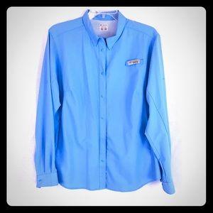COLUMBIA PFG Snap Down Blue Long Sleeve 1X